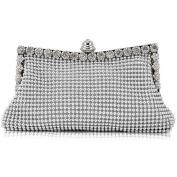 Outdoortips Silver Sparkly Diamante Crystal Satin Evening Wedding Clutch Purse Bag