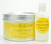 Nordic Care Citrus Mimosa Bath Salts 440ml W/ 30ml Citrus Mimosa Body Butter.