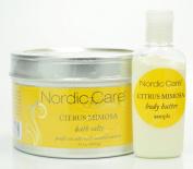 Nordic Care Citrus Mimosa Bath Salts 440ml W/ 30ml Citrus Mimosa Body Butter.