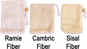 SeaSationals™ Soap Saver Sack Sampler includes Natural Ramie, Cambric and Sisal Fibre Soap Pouches