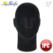 Male 28cm STYROFOAM FOAM Black Velvet Like MANNEQUIN MANIKIN head wig display hat glasses 1PC