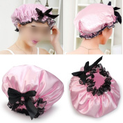 Brownylife Shop - Pink Ribbon Waterproof Elastic Band Lace Bow Hat Hair Bath Shower Bouffant Cap
