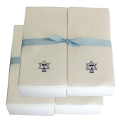 Disposable Guest Hand Towesl with Ribbon - Embossed with a Blue Menorah/star of David - 50ct