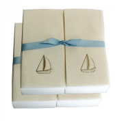 Disposable Guest Hand Towesl with Ribbon - Embossed with a Silver Sailboat - 50ct