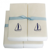 Disposable Guest Hand Towesl with Ribbon - Embossed with a Blue Sailboat - 50ct