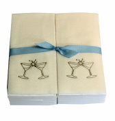 Disposable Guest Hand Towesl with Ribbon - Embossed with a Gold Martini Glasses - 50ct