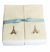 Disposable Guest Hand Towesl with Ribbon - Embossed with a Silver Eiffel Tower - 50ct