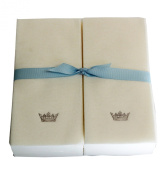 Disposable Guest Hand Towesl with Ribbon - Embossed with a Silver Crown - 50ct