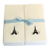 Disposable Guest Hand Towesl with Ribbon - Embossed with a Black Eiffel Tower - 50ct