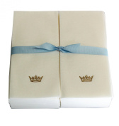 Disposable Guest Hand Towesl with Ribbon - Embossed with a Gold Crown - 50ct