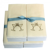 Disposable Guest Hand Towesl with Ribbon - Embossed with Gold Martini Glasses - 100ct