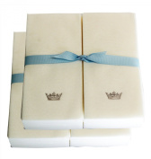 Disposable Guest Hand Towesl with Ribbon - Embossed with a Silver Crown - 100ct