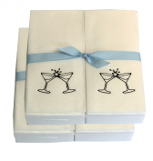Disposable Guest Hand Towesl with Ribbon - Embossed with Black Martini Glasses - 100ct