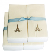 Disposable Guest Hand Towesl with Ribbon - Embossed with a Silver Eiffel Tower - 100ct
