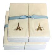 Disposable Guest Hand Towesl with Ribbon - Embossed with a Gold Eiffel Tower - 100ct