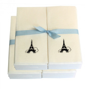 Disposable Guest Hand Towesl with Ribbon - Embossed with a Black Eiffel Tower - 100ct