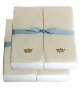Disposable Guest Hand Towesl with Ribbon - Embossed with a Gold Crown - 100ct