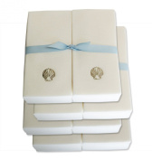 Disposable Guest Hand Towels with Ribbon - Embossed with a Silver Shell - 200ct