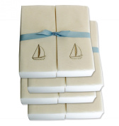 Disposable Guest Hand Towels with Ribbon - Embossed with a Silver Sailboat - 200ct