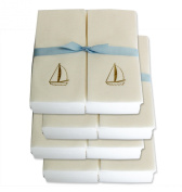 Disposable Guest Hand Towels with Ribbon - Embossed with a Gold Sailboat - 200ct