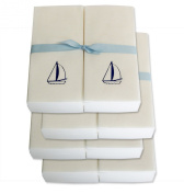 Disposable Guest Hand Towels with Ribbon - Embossed with a Blue Sailboat - 200ct
