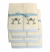 Disposable Guest Hand Towels with Ribbon - Embossed with a Black Martini Glasses - 200ct