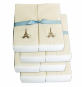 Disposable Guest Hand Towels with Ribbon - Embossed with a Silver Eiffel Tower - 200ct