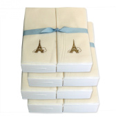 Disposable Guest Hand Towels with Ribbon - Embossed with a Gold Eiffel Tower - 200ct