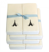 Disposable Guest Hand Towels with Ribbon - Embossed with a Black Eiffel Tower - 200ct