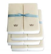 Disposable Guest Hand Towels with Ribbon - Embossed with a Silver Crown - 200ct