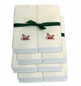 Disposable Guest Hand Towels with Ribbon - Embossed with a Red Sleigh - 200ct