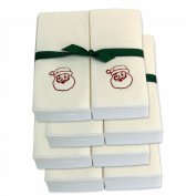 Disposable Guest Hand Towels with Ribbon - Embossed with a Red Santa Claus - 200ct