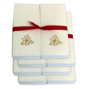 Disposable Guest Hand Towels with Ribbon - Embossed with a Gold Poinsettia - 200ct