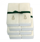 Disposable Guest Hand Towels with Ribbon - Embossed with a Silver Christmas Tree - 200ct