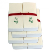 Disposable Guest Hand Towels with Ribbon - Embossed with a Green Candles - 200ct