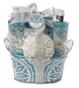 Opaline Water Lily Luxury Bath Spa Gift Set. Shower Gel, Bubble Bath, Bath Salt, Bath Puff & Silvertone Wire Basket Shower Holder