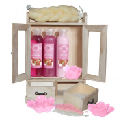 Brubaker Cosmetics 10 Pcs Beauty Gift Set Women Wooden Cabinet Strawberry