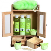 Brubaker Cosmetics 10 Pcs Beauty Gift Set Women Wooden Cabinet Aloevera Vanilla
