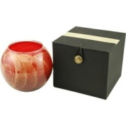 Cranberry Candle Globe - The Inside Of This 10cm Polished Globe Is Painted With Wax To Create Swirls Of Gold And Rich Hues And Comes In A Satin Covered Gift Box. Candle Is Filled With A Translucent Wax And Scented With Mysteria. Burns Approx. 50 Hrs