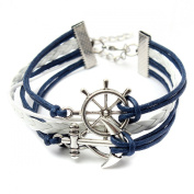 Multi Layered Retro Infinity Handmade Braid Anchor Rudder Bracelet Bangle Gift