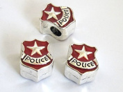 1 BEAD - Gorgeous Police Dept badge bead - CM075