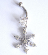 Body jewellery Snowflake dangle fashion woman piercing navel bar 14G Surgical Steel belly button rings