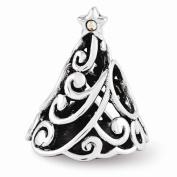 Sterling Silver Reflections. Filigree Christmas Tree Bead