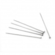 500pcs Silver Tone Stainless Steel Head Pins 0.7x33mm 21 gauge