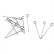 500pcs Silver Tone Stainless Steel Eye Pins 2.2cm x 0.7mm 21 gauge