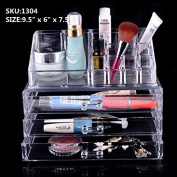 Beauty Acrylic Clear Cosmetic Holder Large 3 Drawer Jewerly Chest or Make up Case Lipstick Liner Brush Holder Organiser