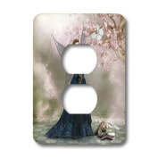 lsp_172916_6 Simone Gatterwe Designs Fairies Fairytale - Fairy hold a butterfly in her hand on a fantasy landscape - Light Switch Covers - 2 plug outlet cover