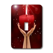 lsp_173004_1 Doreen Erhardt Inspirational - Beautiful hands holding a lit red candle quite inspirational. - Light Switch Covers - single toggle switch
