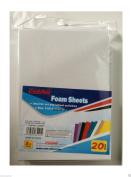 wennow White Colour 20 Pcs Craft Foam Sheets For Craft ART 15cm X 22cm