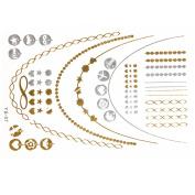 New Metallic Tattoo Gold Silver Black Temporary Bling Flash Tats Craft Sticker 1 Sheet